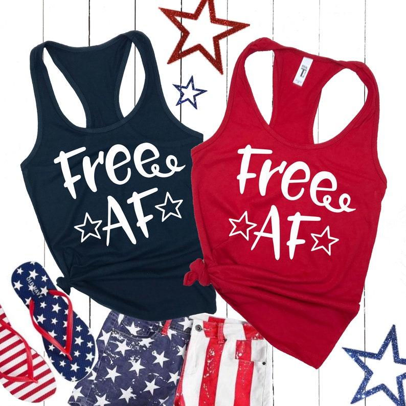 08da43af Free AF Funny 4th of July Tank Top America Tanks USA | Etsy