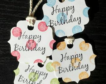 "Polka Dot ""Happy Birthday"" Tags (set of 20)"