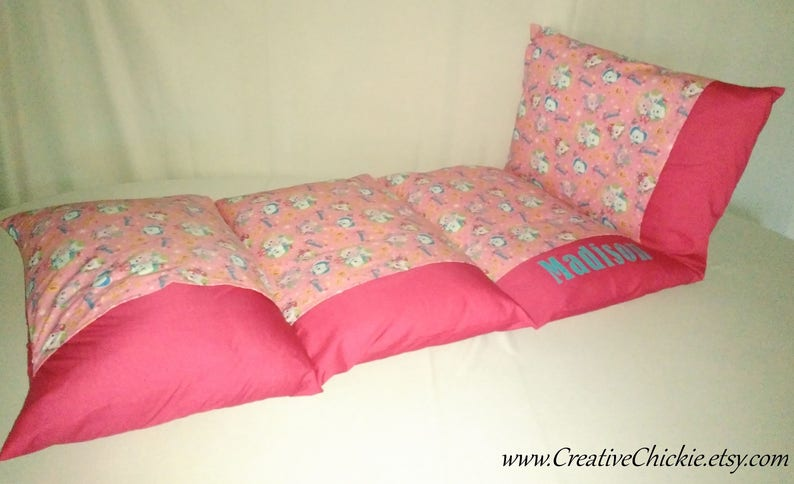 Pillow Mattress Owls Pillow bed Sleepover Bed Personalized Owl Pillow Bed Girl Pillow Bed Children/'s Pillow Bed