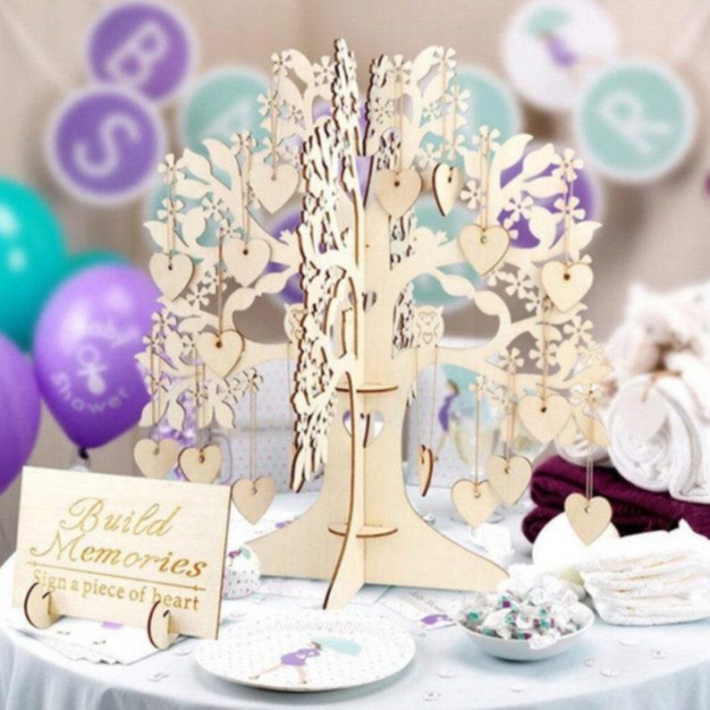 Heart-Shaped Decoration Keepsake 3-D Wood Tree Wedding Decoration Guest Book Ornament