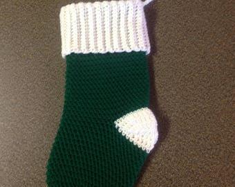 Christmas Stocking - Green w/ White - Crochet