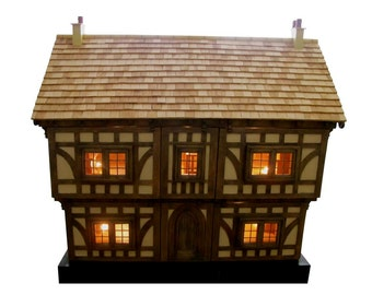 Dolls house, Tudor dolls house, Period property, 12th scale quality wooden dolls house, reclaimed oak, carpentry.