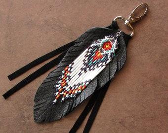 Western Purse Tassel Leather Feather Fringe Bag Charm Native American Styled Hippie Boho Cowgirl Gypsy Beaded Keychain Gift