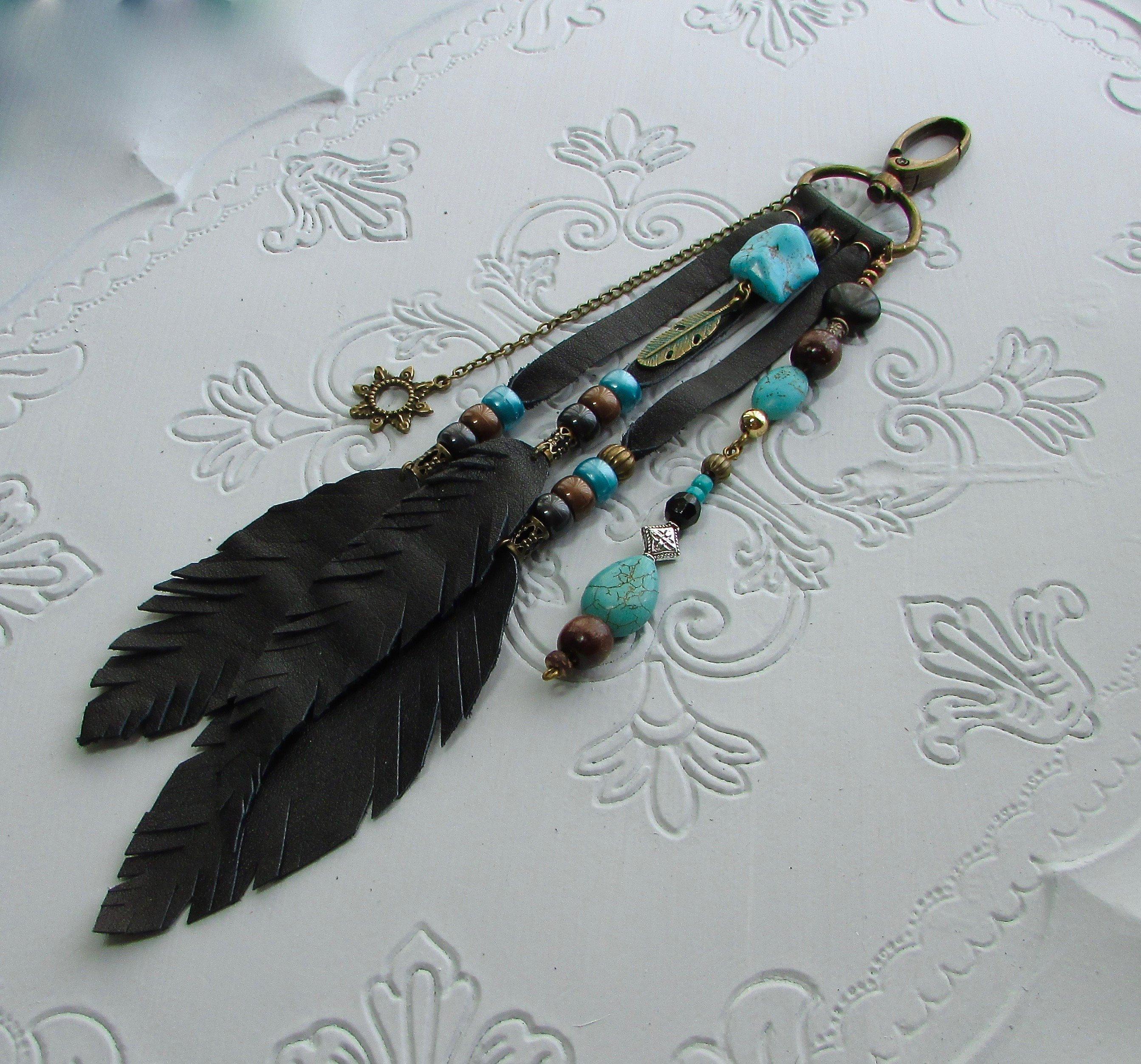 Feather Keychain Western Keychain Gifts for Her Native American Keychain Southwest Keychain