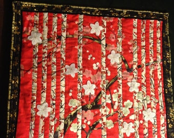 Japanese cherry blossoms wall quilt red black white gold