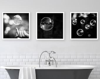Black and White Bathroom Set - abstract bubble photos 3 prints three bubbles bathroom wall decor 8x10 prints modern photography 8x8 10x10