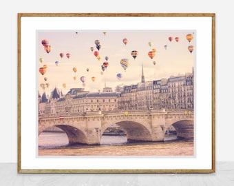 Whimsical Decor  -  Hot Air Balloons over the Seine River in Paris, Whimsical Paris Wall Art