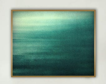 "Ocean Abstract Art - teal photography 11x14 coastal wall art 16x20 large wall art 8x10 modern wall decor 24x36 seascape foggy  ""Lost At Sea"""