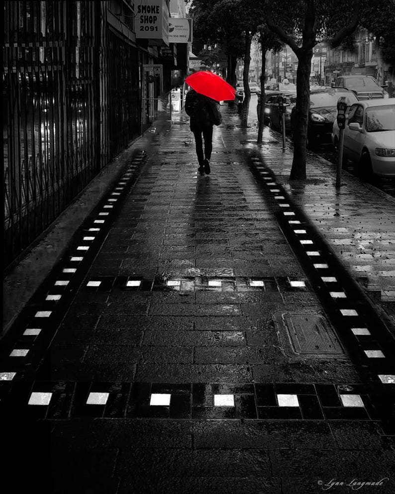 Red umbrella art black and white color 16x20 red umbrella canvas art 11x14 splash photography 8x10 san francisco photography rainy day