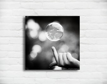 """Black and White Bubble Canvas - bubble photography bubbles 8x8 abstract square 20x20 large canvas art 24x24 bathroom decor - """"The Moment"""""""