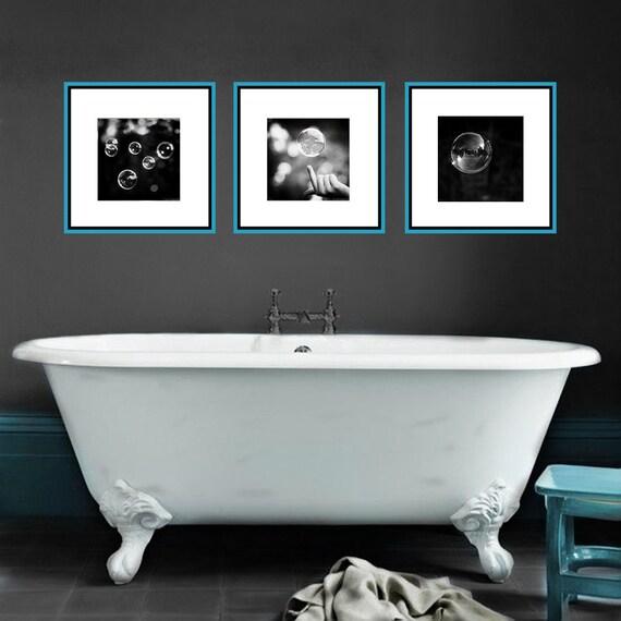 Fesselnd Schwarz Und Weiß Bad Set Abstrakte Blase Fotos 3 Drucke Drei