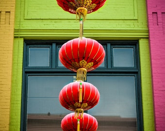 "San Francisco Photography - red lanterns san francisco chinatown photos 16x24 green pink yellow 8x10 prints wall decor ""Red Lanterns"""