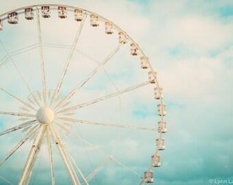 """Paris Photography - ferris wheel paris garden clouds blue wall decor whimsical 8x10 prints 5x7 11x14 16x20 paris photos - """"Among the Clouds"""""""