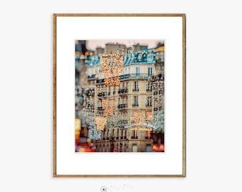 "Paris Photography - christmas lights Paris holiday decorations winter photography neutral blue gold 8x10 5x7 11x14 16x20 art ""Winter Light"""
