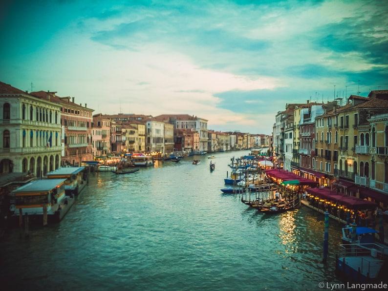 grand canal at night in Venice travel blue wall decor Nightfall teal blue Venice wall prints Venice Photography Venice wall art