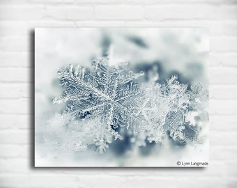 "Snowflake Canvas Art - white blue snowflakes snow snowing 8x10 canvas winter photography snowy wall art 16x20 christmas gift - ""Crystal"""