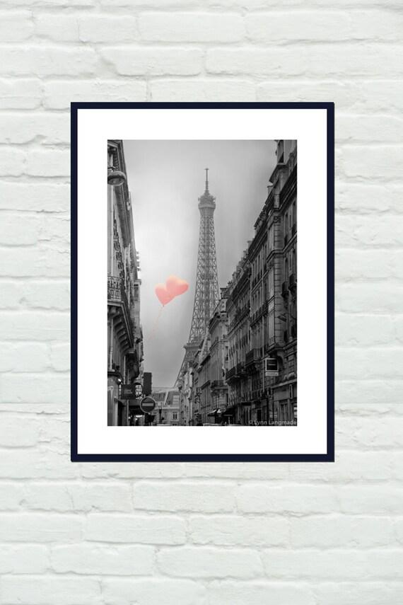 Schwarz-weiß-Fotografie Eiffelturm Herz Luftballons   Etsy