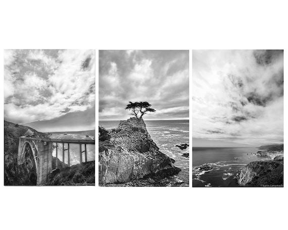 Coastal wall art set of 3 black and white prints 5x7 8x12