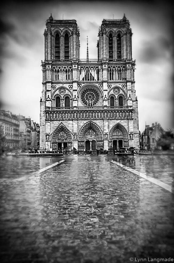 black and white photography notre dame in the rain paris etsy