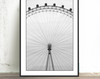 London Wall Art - Abstract Photograph of the London Eye in Black and White 16x24, 20x30 40x60