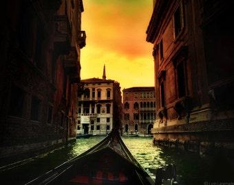 "Venice Photography - gondola ride at dusk in Venice, sunset, green and orange, Venice wall art,  Venice wall prints - ""Drifting into Dusk"""
