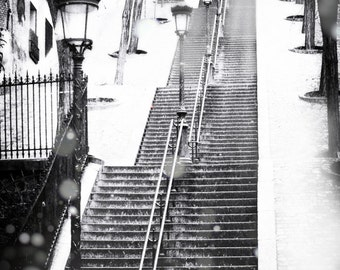 Paris Black and White Stairs - snowy morning Montmartre winter photography 8x10 11x14 16x20 snow black and white art Winter in Paris France