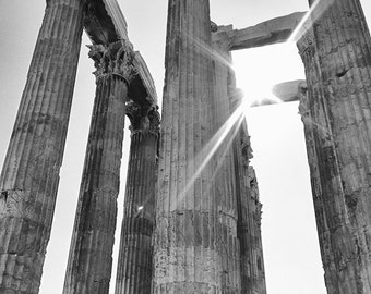 """Black and White Photography - Greek temple ruins, architecture, Athens Greece, home decor, travel photo - """"When Giants Walked the Earth"""""""
