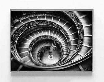 "Black And White Artwork - spiral staircase, vatican prints, architectural art, geometric art, vatican art prints 11x14 16x20 ""Divine Spiral"""
