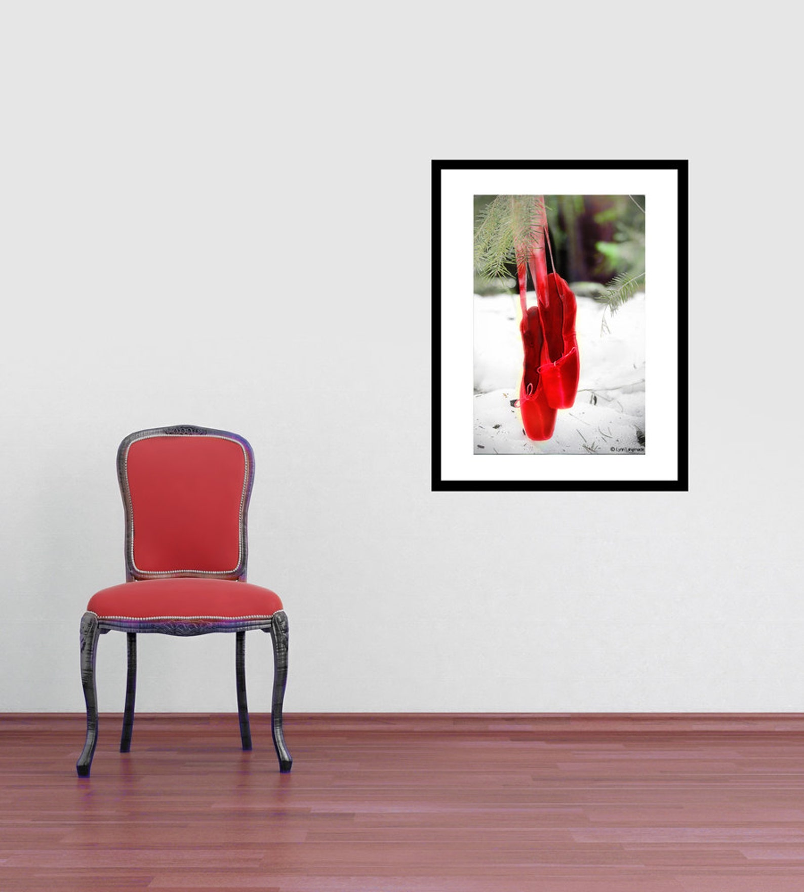 nature photography - red ballet shoes snow 8x10 valetine gift pointe shoes winter photography ballet wall art 11x14 red white -