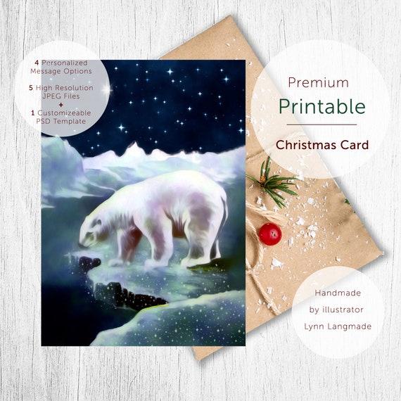 Snowy Holiday Card Template Digital Download 5x7 Folded Card Template Polar Bear North Star Printable Xmas Bolar Bear Printable Card