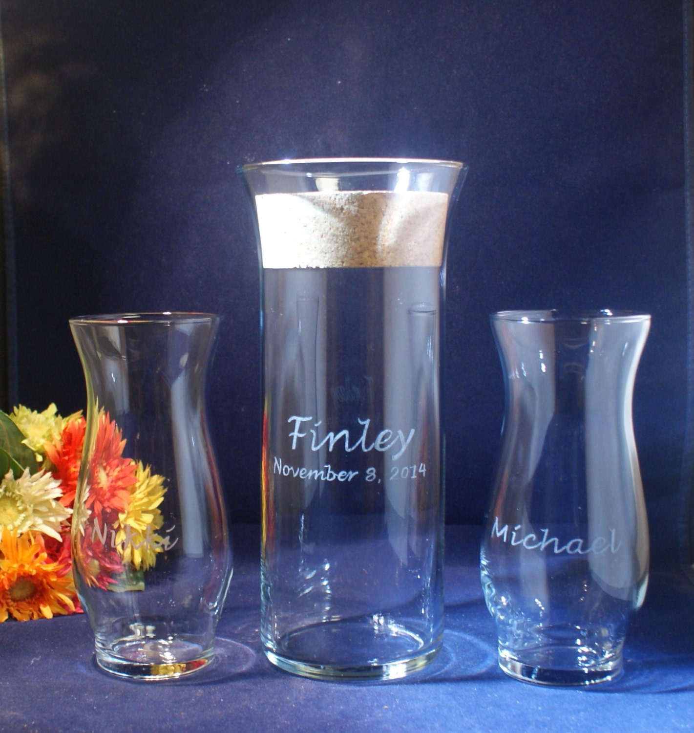 3 Piece Sand Ceremony Set With Flared Lip 9 X 3 Vase Plus 2 Etsy