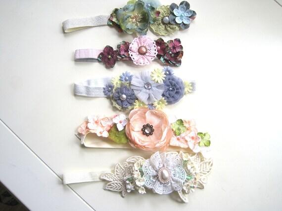 fleur de bandeaux stretch avec des fleurs de tissu et du papier - bébé, enfant en bas âge, fille, fille de fleur, les mariages, photos de bébé