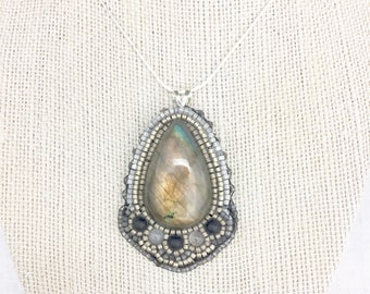 Labradorite and Onyx Pendant