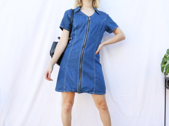 Zipper Denim Dress