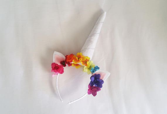 Rainbow Flowers Glitter Unicorn Horn Headband  3eaf7792d60