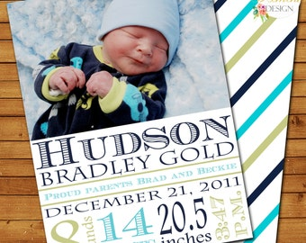 Birth Announcement, Photo Card, New Baby, Printable