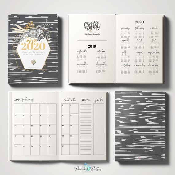 Calendrier Om 2020 16.2019 2020 16 Month Weekly Monthly Planner Gray Gold Floral Modern Sept 2019 Dec 2020