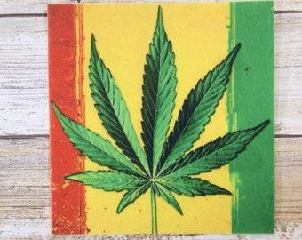 3X MARIJUANA HEMP WEED LEAF and Rasta Color Patches