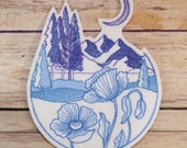 Wild Mountain Blooms Iron On Embroidery Patch MTCoffinz - Choose Size