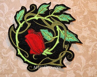 b7346eccc4d2a Vintage Tattoo Rose Vines Iron On Embroidery Patch MTCoffinz -