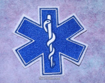 Paramedic Star of Life Pattern Embroidered Hook Loop Patch Clothes Decor 1#