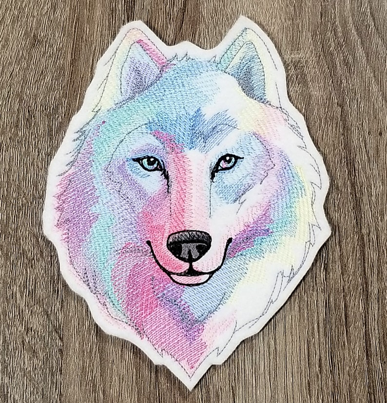 Pastel Watercolor Rainbow Wolf Iron On Embroidery Patch MTCoffinz Choose Size