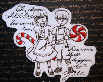Hansel and Gretel Candy Dark Fairy Tales Iron On Embroidery Patch MTCoffinz