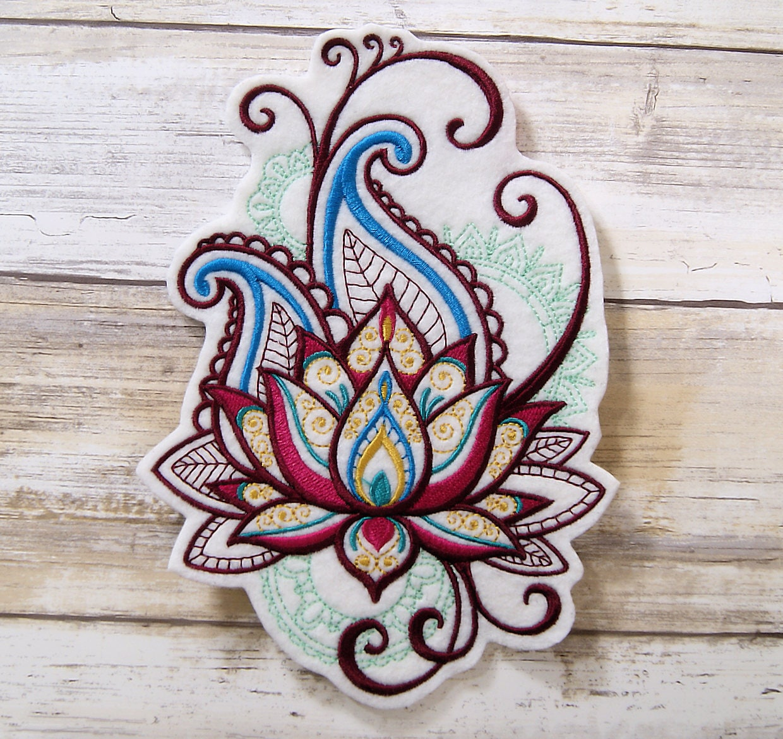 Mehndi Lotus Flower Splash Iron On Embroidery Patch Mtcoffinz Etsy