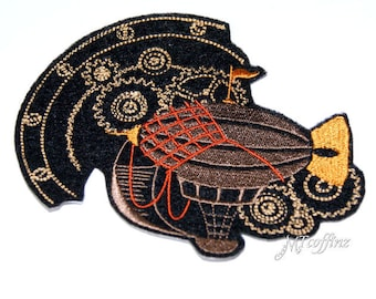 SteamPunk Dirigible Airship Iron On Embroidery Patch MTCoffinz