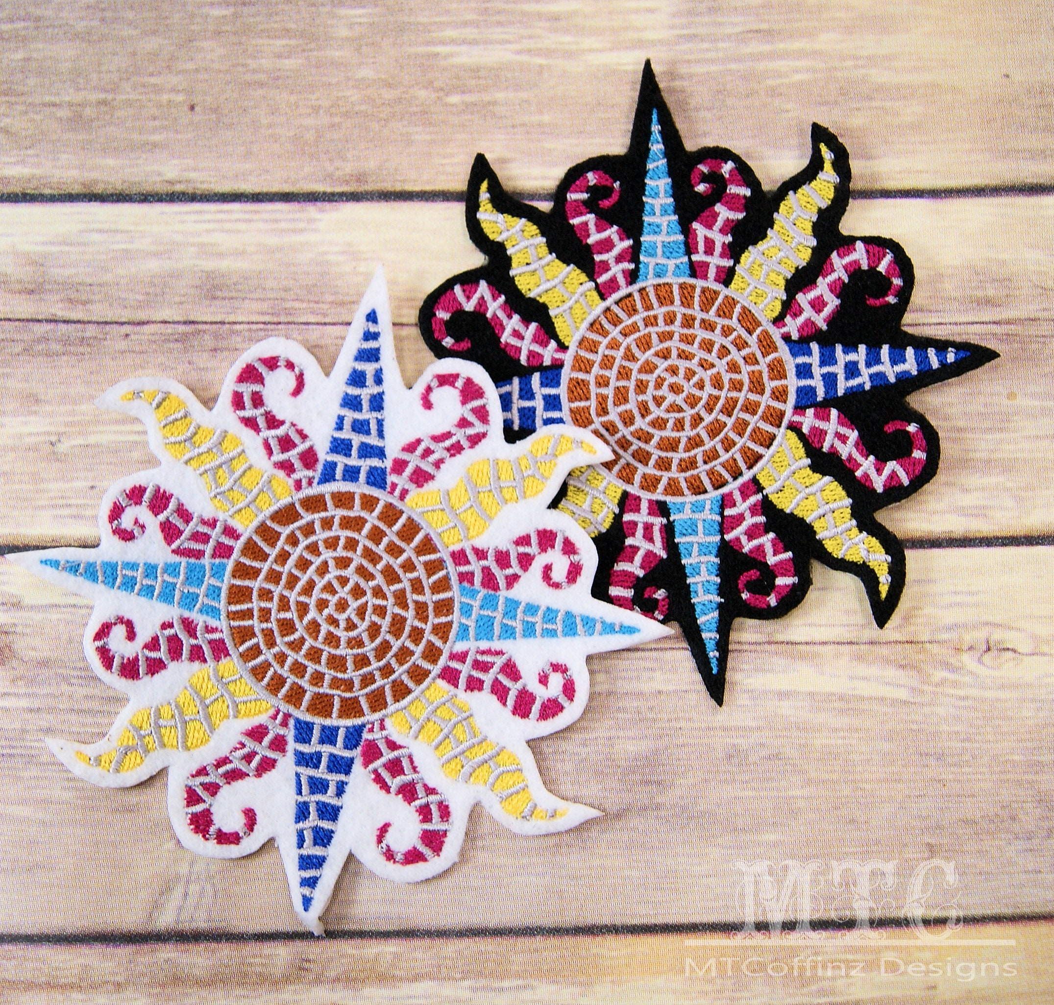 d6fa706b9d9 Mosaic Tiles Summer Sun Iron On Embroidery Patch MTCoffinz - Choose Size /  Color