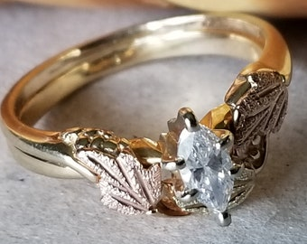 18K Yellow Gold 0.25 Ct Marquise Cut Diamond Solitaire Ring with Black Hills Gold Leaf Wrap (st - 2274)