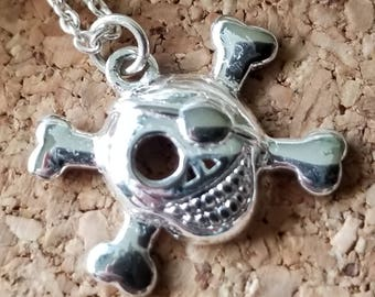 "Sterling Silver Skull & Crossbones Pendant on 18"" Sterling Silver Chain (st - 2125)"