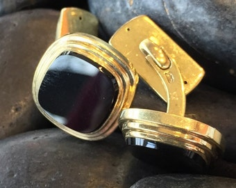 Vintage 8K Gold Square Onyx Cuff Links (st - 1205)