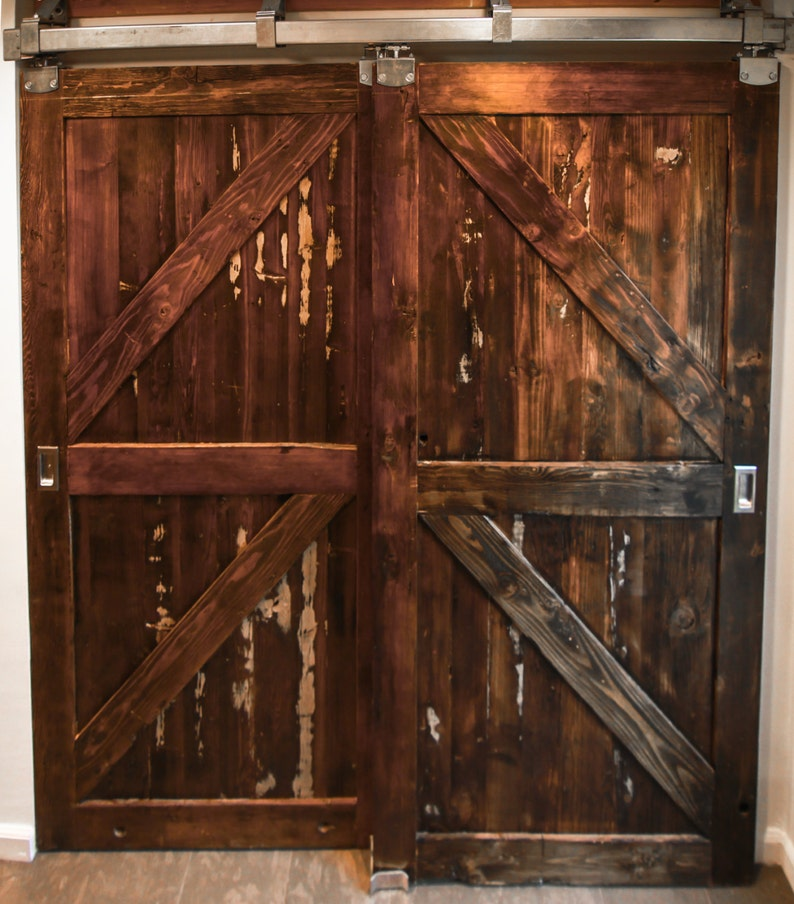 Double Reclaimed Wood Barn Doors And Hardware